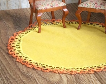 Round dollhouse rug with hand crochet lace yellow floor carpet dollhouse miniature mat doll house tablecloth