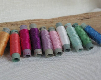 Vintage silky thread set of 5 spools, choose your color, soviet vintage thread, sewing supplies made in USSR for hand embroidery