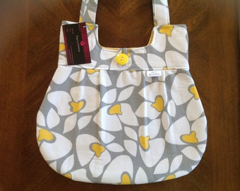 FLASH SALE!  Modern floral purse.  Mustard yellow and grey bag,pleated bag, gift,damask bag