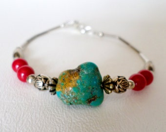 7 3/4 inch 20 cm Beaded Bracelet, Southwestern Turquoise, Red Coral, Liquid Silver and Silver Beads, Boho Country Western Wear, ID 458482114