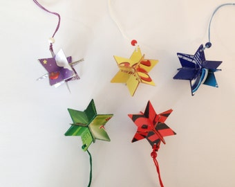 Set: 5 stars *3D *tag *decoration *paper *upcycling