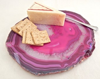 Pink Agate Geode Slice Specimen, Unique Cheese Platter, Serving Tray