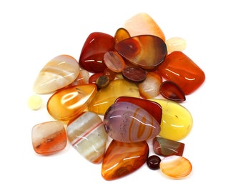 Red Stones Cabochon - 1/4 lb Bag mixed shapes - Agate / sunstone / salmon howlite Jewelry Supplies - (RK62B13-01)