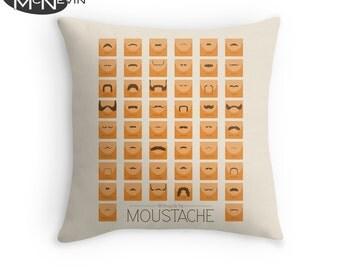 50 CLASSIC MOUSTACHES Throw Pillow, Home Decor Geek Art