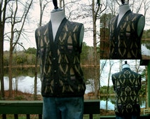 1950s Mens Button Down Grey Goemetric Pattern Sweater Vest from Neiman-Marcus, Size XL