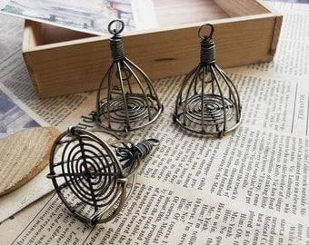 2PCS - 3D Bird cage pendants charms antique Brass tone -  38x50mm - C4818