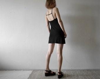 vintage black slightly sheer strappy back little black dress small size