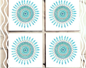 Simple Teal Mandala Tile Coasters
