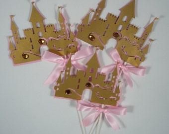 Princess Castle Centerpieces stick,Pink and Gold Castle centerpiece 4