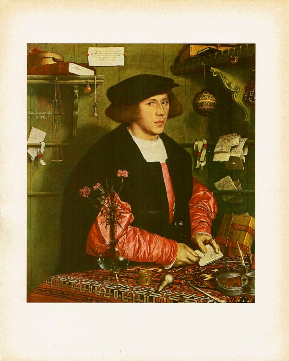 Antique print of painting by Hans Holbein the Younger, George Gisse, Merchant of the Steelyard, London, high quality print, 1926