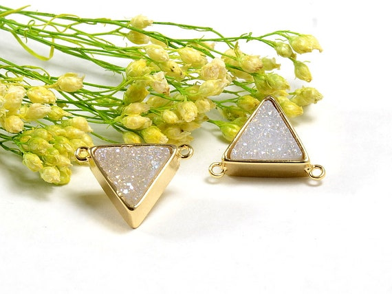 Triangle Druzy in AB color, AB Druzy Connector, Natural Titanium Agate Drusy Gemstone Jewelry  - 1 pc/ pkg
