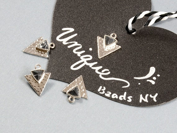 Black Marble Triangle Charm/ Arrow Spear Pendant with Black Marble Stone in Anti-tarnish Rhodium Plating  - 2 pcs/ order