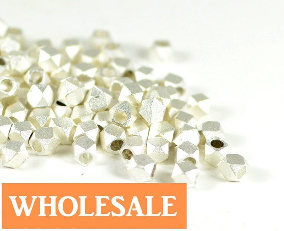 WHOLESALE 3.5mm Faceted spacer, metal spacer bead, matte brushed silver spacer - 90+ PCS per strand