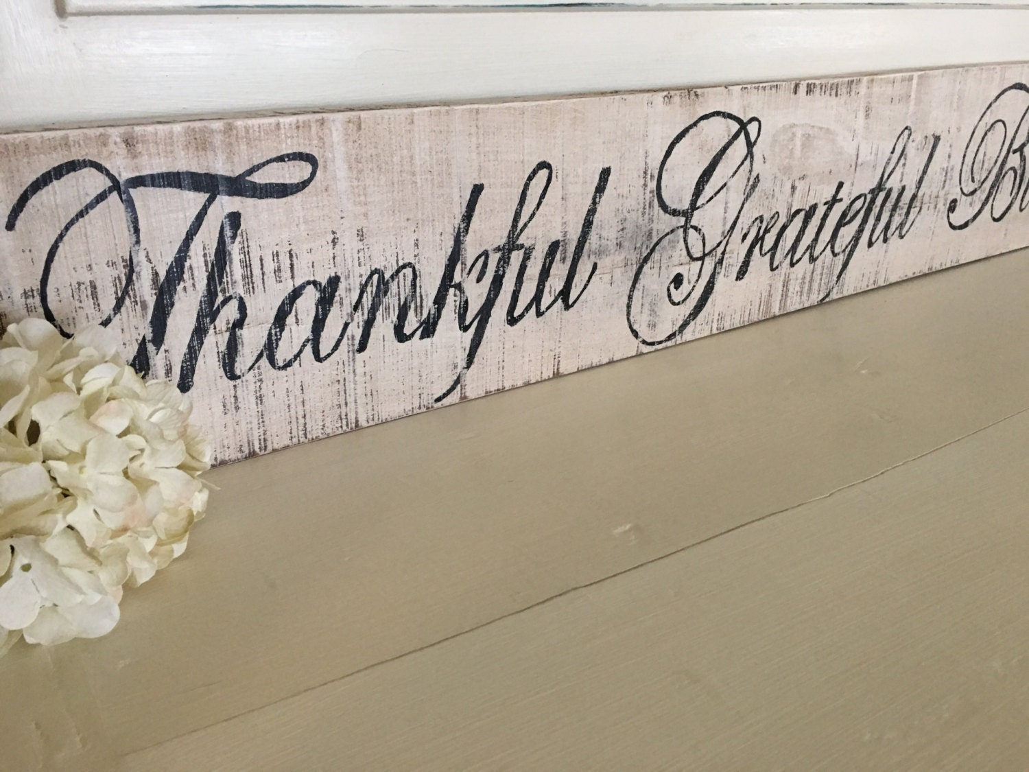 Rustic kitchen buffet - Grateful Thankful Blessed Sign