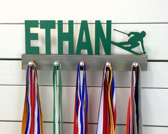 Personalized Skier Medal Display- 12 or 20 inch