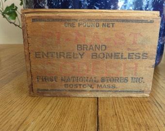 FI-NA-ST Brand Codfish Wooden Box