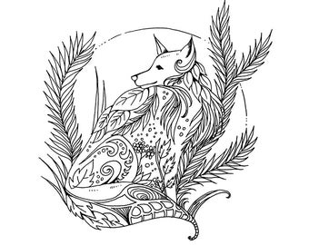 Fox Printable Coloring Page, For Children and Adults, Instant Download