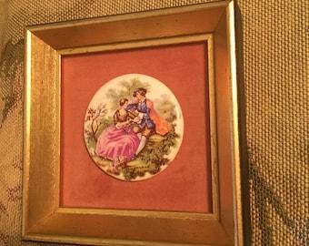 Framed Porcelain Renaissance Plaque of Courting Couple in Wooded Scene, Porcelain Art, Renaissance Wall Decor, Home Decor, Gold Frame