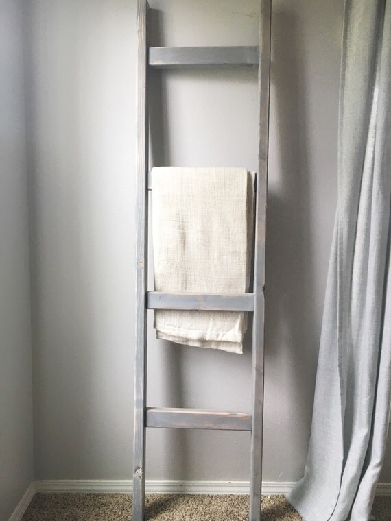 Blanket Ladder Rustic Wood Quilt Ladder Weathered Gray