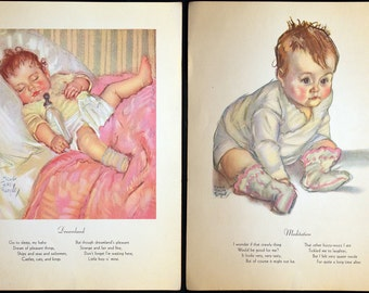 Delightful 1933 Maud Tousey Fangel Baby Illustration * Childrens Lithographed Print * Beautiful Color Book Page * Dreamland
