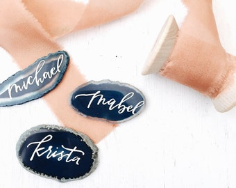 Agate Geode Rock Destination Garden Wedding Shower Party Escort Place Cards Stone Calligraphy
