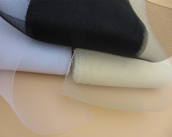 """Black horsehair millinery netting trim by yard,Clear STiFF Crin 6"""" Horsehair for Bridal, Skirts, Millinery"""