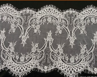 3 Yards off white French Chantilly Lace ,Exquisite Black Eyelash Lace Trim,Wedding lace fabric -T6548
