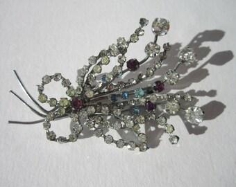 1950s rhinestone floral spray butterfly brooch