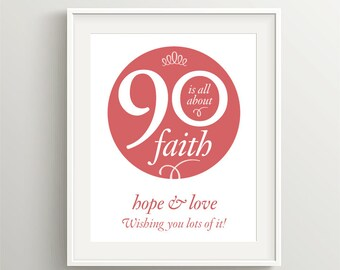 Happy 90th Birthday! Instant download files for card or poster, I Corinthians 13 sentiment; My best seller!