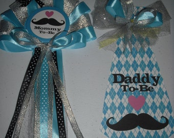 Baby shower mustache  Mommy and Daddy's corsage and Tie set with a sweet little heart