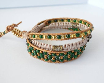 Green, bronze, and tan, beaded wrap bracelet.