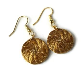 Mandala Earrings,  Organic Hoop Earrings, woven Earrings, Fiber earrings, Golden Grass Earrings, handmade earrings, golden earrings,
