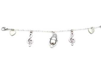 Radio Bracelet Singers Charm Bracelet Microphone Charm Bracelet Music Bracelet Music Note Bracelet Microphone Bracelet Singers Jewelry