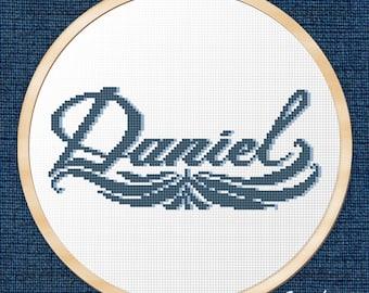 "Cross Stitch Pattern ""Daniel calligraphy name "" Instant Download PDF"