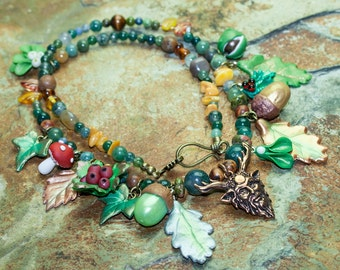 The Green Man, The Horned God, Cernunnos Necklace, Druid, Wiccan, Pagan, Lord of the Wildwoods,Pan