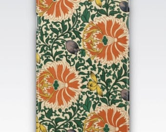 Case for iPhone 8, iPhone 6s,  iPhone 6 Plus,  iPhone 5s,  iPhone SE,  iPhone 5c,  iPhone 7  - Vintage Green & Orange Floral Pattern
