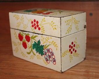 Vintage Metal Recipe Box with Retro Fruit Detail