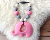 Elephant Teether, Silicone Teether, Sensory Teether, Babywearing Teether, Tula Accessory, Baby Shower Gift - Pretty in Pink