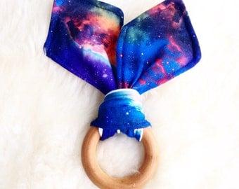 Teething Ring, Galaxy Teether, Bunny Ear Teether, Wooden Teether, Montessori Toy, Waldorf Toy, Baby Shower Gift