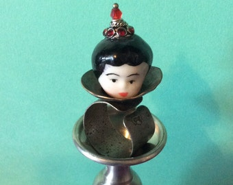 The Geisha - China doll head on industrial band - vintage inspired adjustible ring