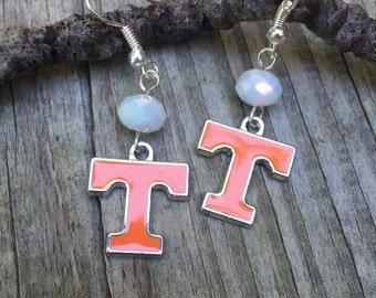 Tennessee Volunteers earrings , Tn Vols jewelry, TN charm, University of Tn, UT Orange and White earrings