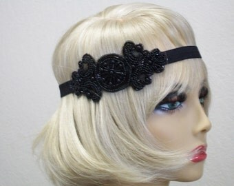 Flapper Headpiece Art Deco Headband 1920s Headpiece Downton Abby Headband Beaded Art Deco Black Beaded Headband Roaring 20s
