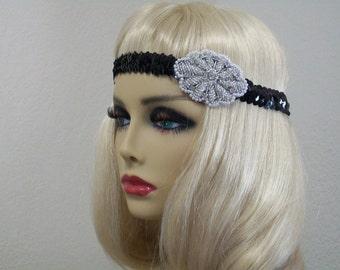 Beaded Flapper Headband, Great Gatsby Headband, 1920s Headband, Flapper Headpiece, Art Deco Headband, Sequin Headband, 1920s Hair Accessory