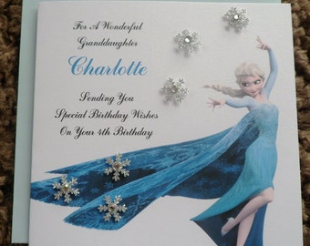 Handmade Personalised Birthday Card FROZEN DESIGN Any Age