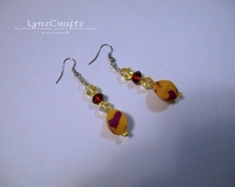 Citrus Punch yellow & fuchsia polymer clay  jewelry handmade One of a Kind