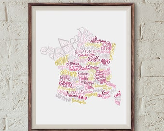 French wine map kitchen print art for cooks bakery art french poster kitchen decor french art restaurant poster