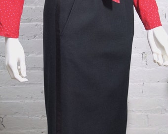 1970s Yves Saint Laurent Tuxedo Skirt Rive Gauche Iconic Black 38