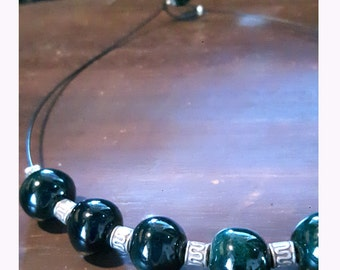 Handmade ceramic necklace, balls beads, dark green enamel, pottery