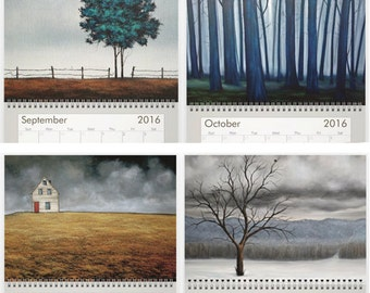 2016 Calendar of Original Art by Joelle Cathleen. Trees ~ Clouds ~ Boats ~ Barns