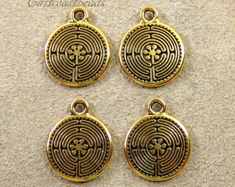 TierraCast~Celtic Labyrinth~ Antiqued Gold Plated Lead Free Pewter~4 Pieces
